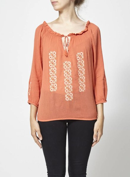 Joie EMBROIDERED TANGERINE TOP