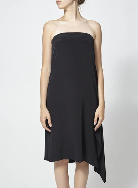 Tibi ON SALE - BLACK SILK DRESS DRAPED ON THE SIDE