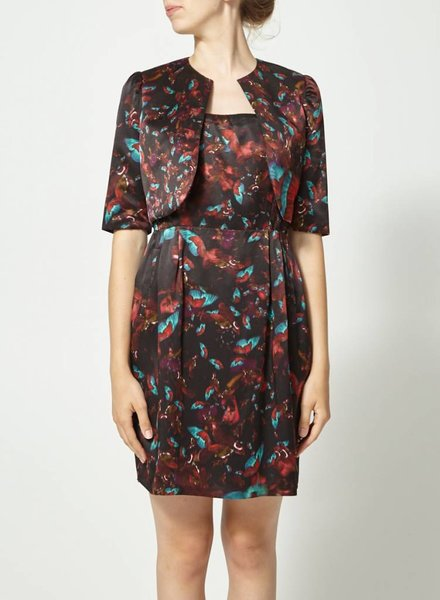 Erdem FLOWERY SILK DRESS WITH SHORT JACKET