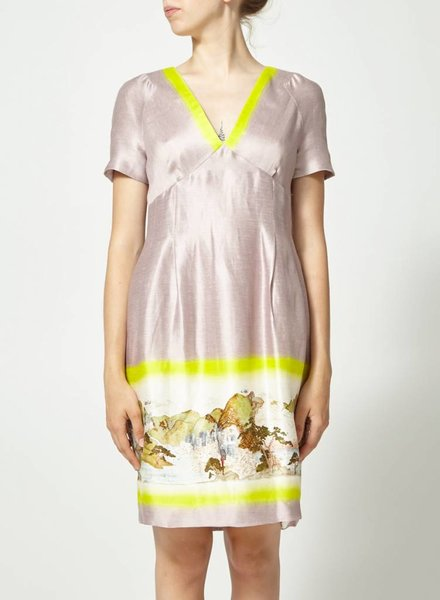 Matthew Williamson ROBE EN SOIE ET LIN LILAS