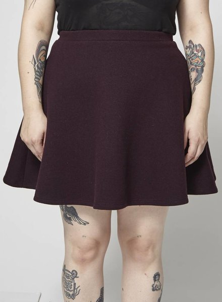 Atelier B PLUM WOOL AND CASHMERE SKIRT - NEW
