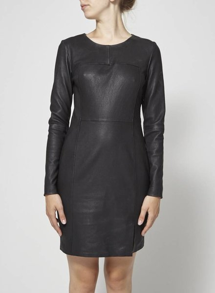 & Other Stories LEATHER BLACK DRESS WITH OPEN BACK