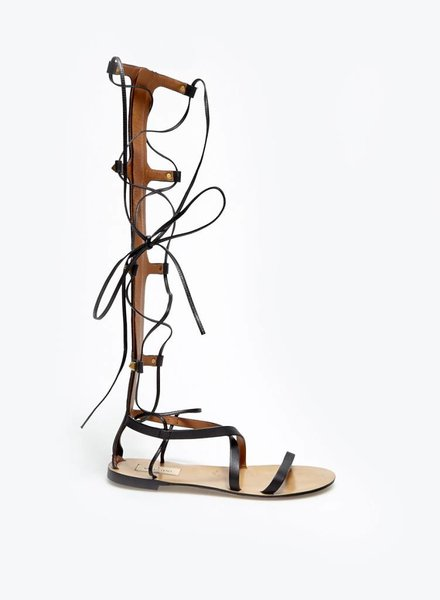 Valentino SALE - BLACK LEATHER GLADIATOR SANDALS WITH GOLDEN STUDS