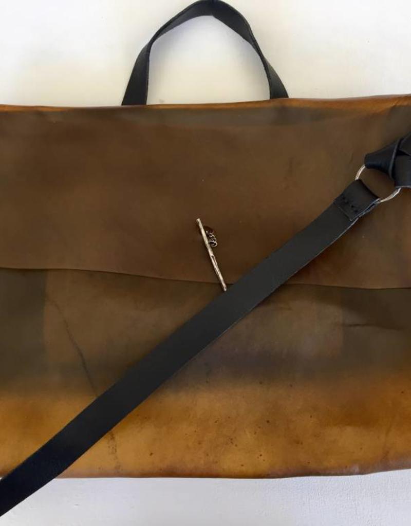 Daniele Basta Mask - leather bag with transparent part mustard/black