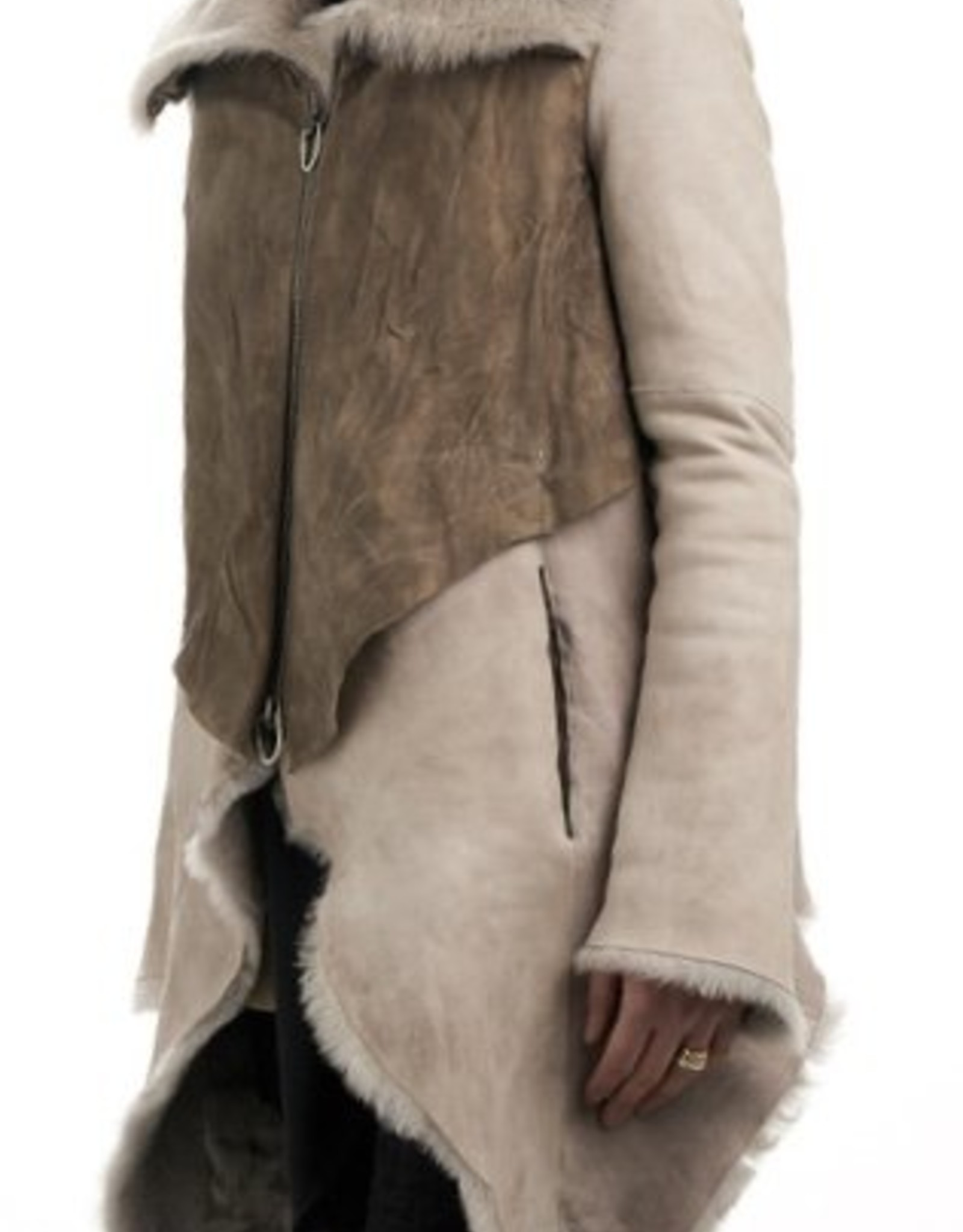 NESTI SH - shearling and bull jacket in Dove Grey and Taupe