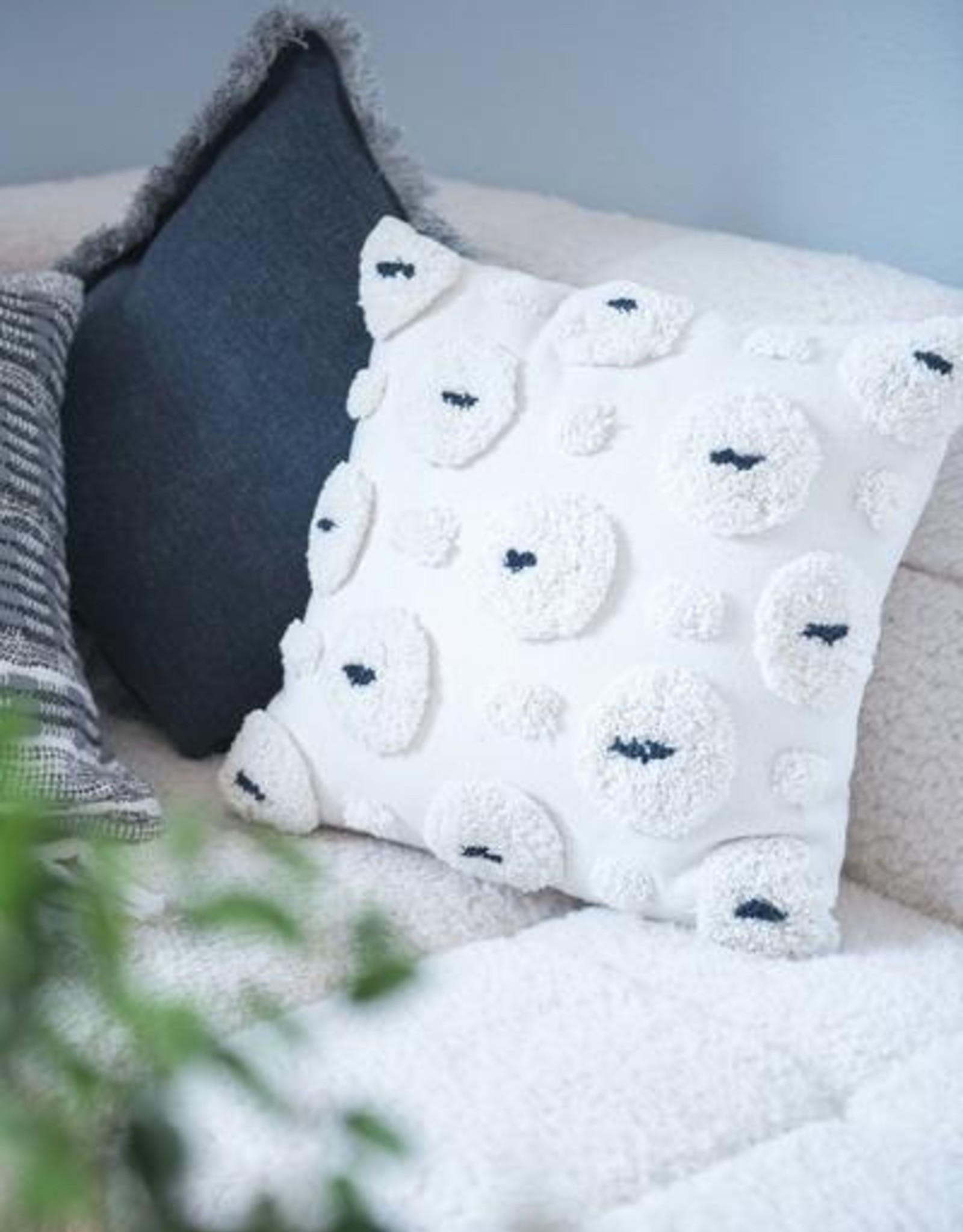 Cotton Pillow - Natural/Black