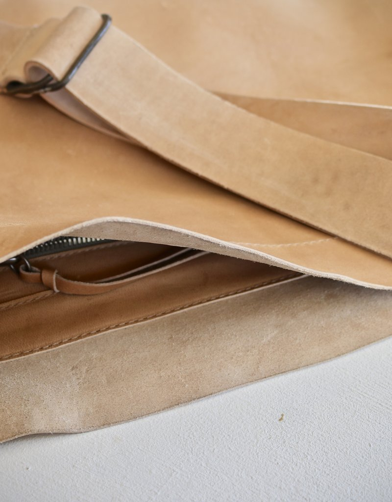Raw Edge Crossbody Bag - Natural
