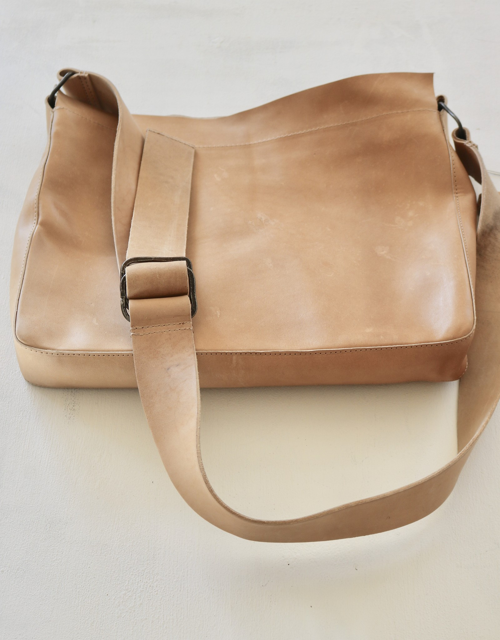 Raw Edge Crossbody Bag - Natural