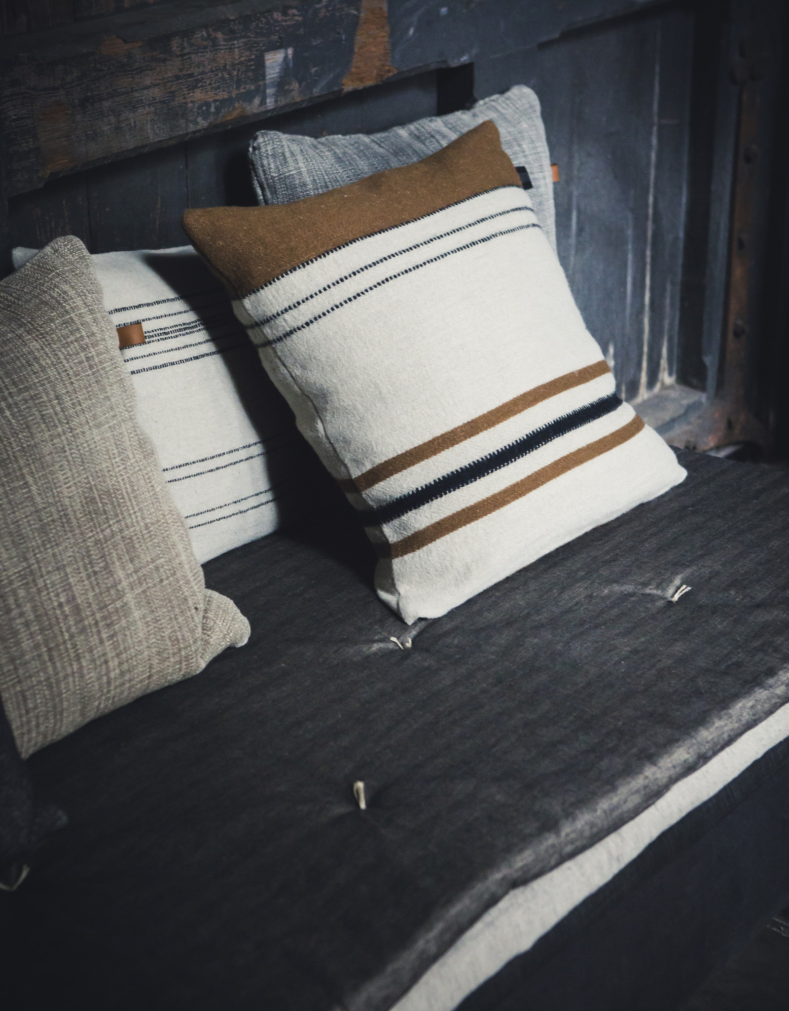 """Foundry Pillow cover 25x25"""" Beeswax stripe"""