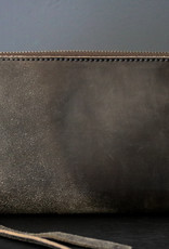 Leather Zip Wallet  - Grey