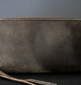 Leather Zip Wallet Grey