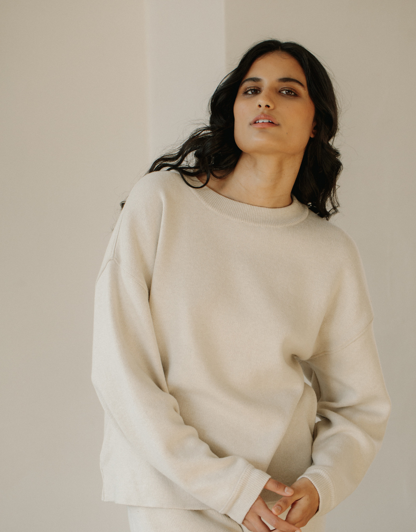 Bare Knitwear xs-s Natural Lounge Crew