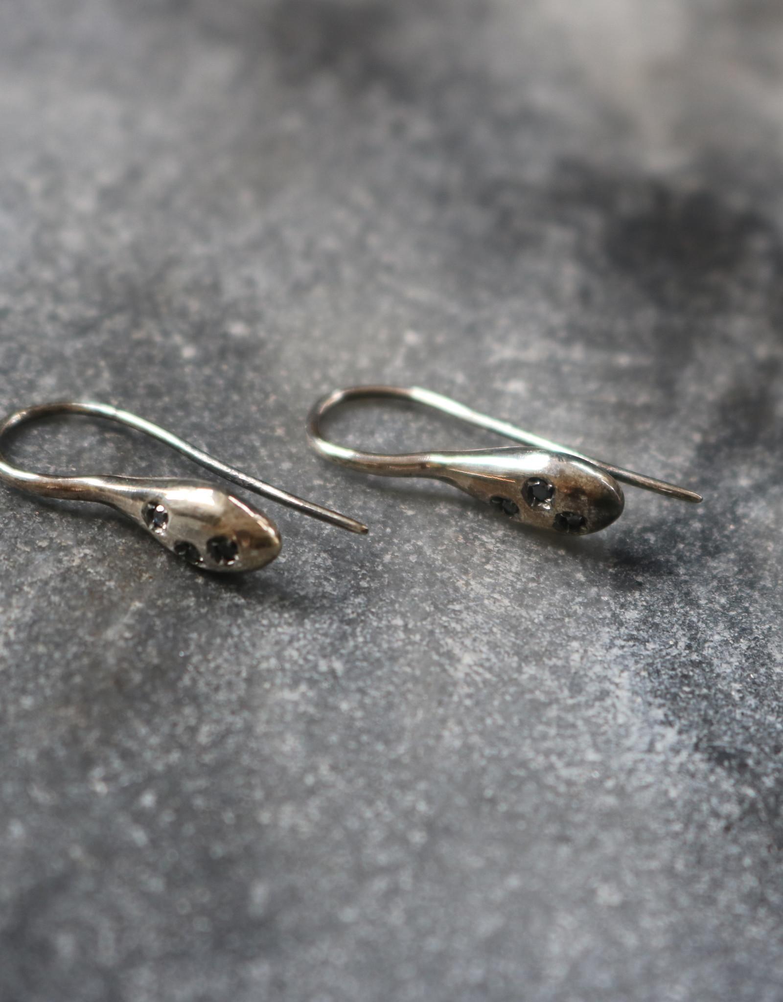 Simona Tagliaferri Silver with Black Diamond Earrings