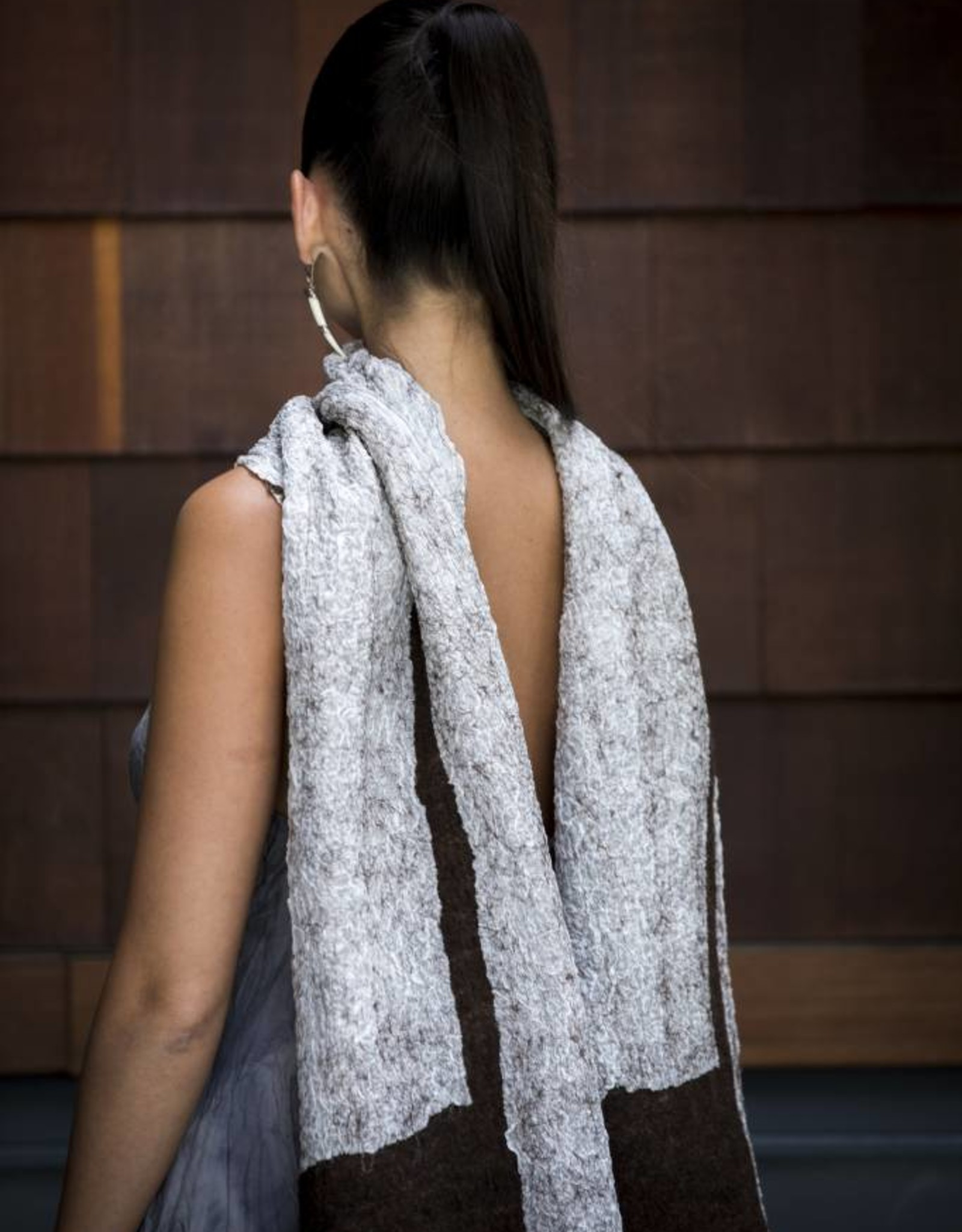 Maddalena Forcella   Brown Merino Wool and Silk Scarf