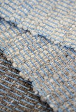 Maddalena Forcella  3ft x 5ft GREIGE Rug with indigo warp and crochet stitch in light gray