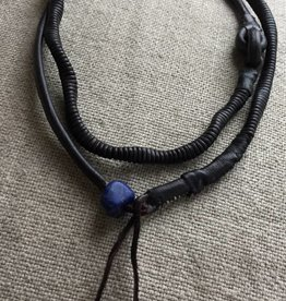 Leather necklace with raw lapis