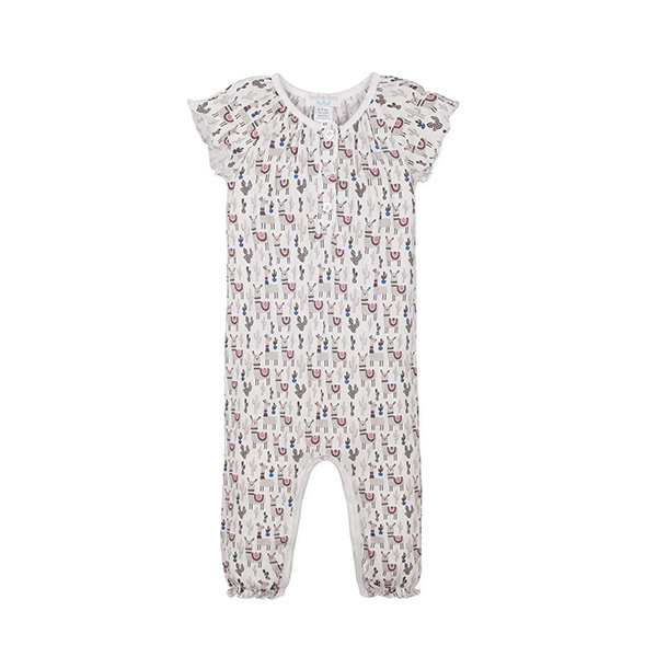 Feather Baby Feather Baby Short Sleeve Ruched Romper