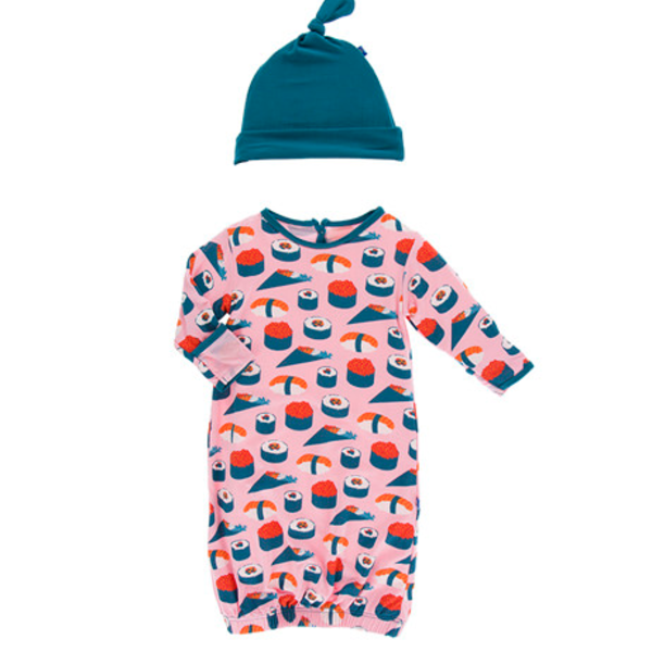 KicKee Pants Kickee Pants Layette Gown and Knot Hat Set