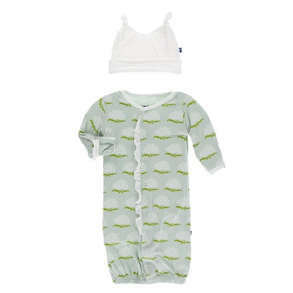 KicKee Pants KicKee Pants Ruffle Layette Gown Converter & Knot Hat Set