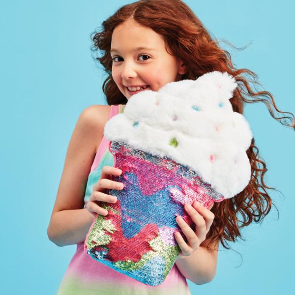 Iscream Iscream Latte Furry Reversible Sequin Pillow