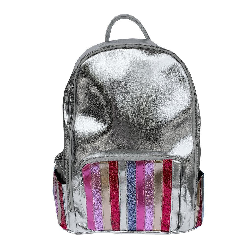 Bari Lynn Silver Glitter Stripe Front Backpack