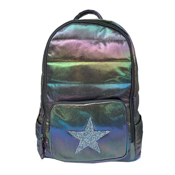 Bari Lynn Holographic Galaxy Puffy Star Backpack