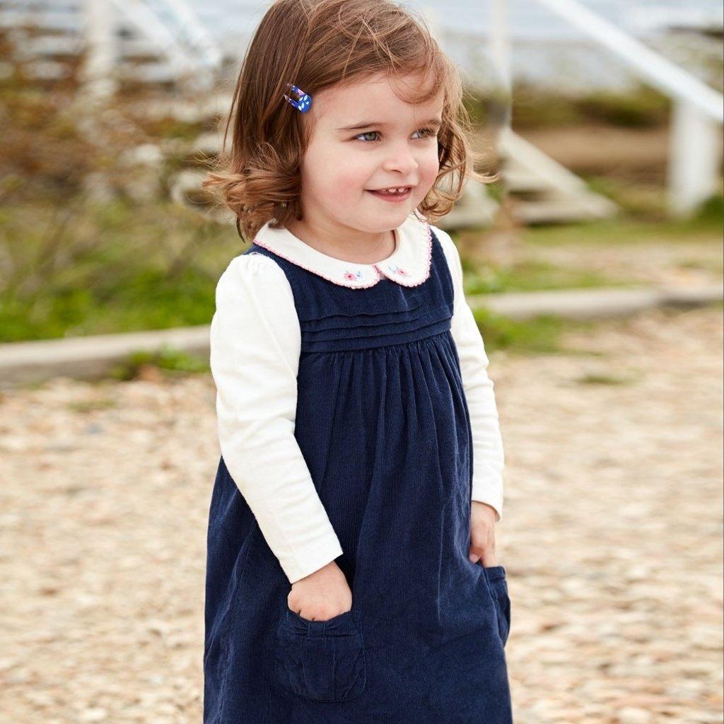 JoJo Maman Bebe JoJo Maman Bebe Girls Flower Embroidered Peter Pan Top - Size: 6-12 Months