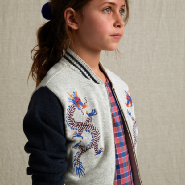 Tea Collection Tea Collection Girls Double Dragons Embroidered Zip Cardi