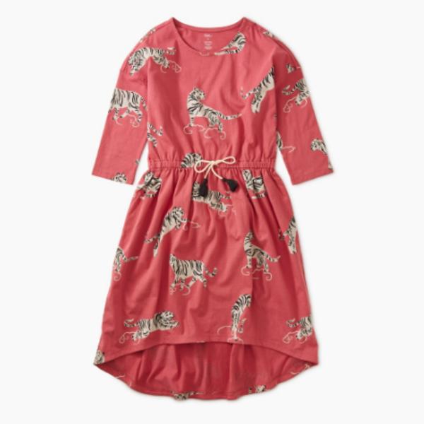 Tea Collection Tea Collection Girls Tie Waist Hi-Lo Dress