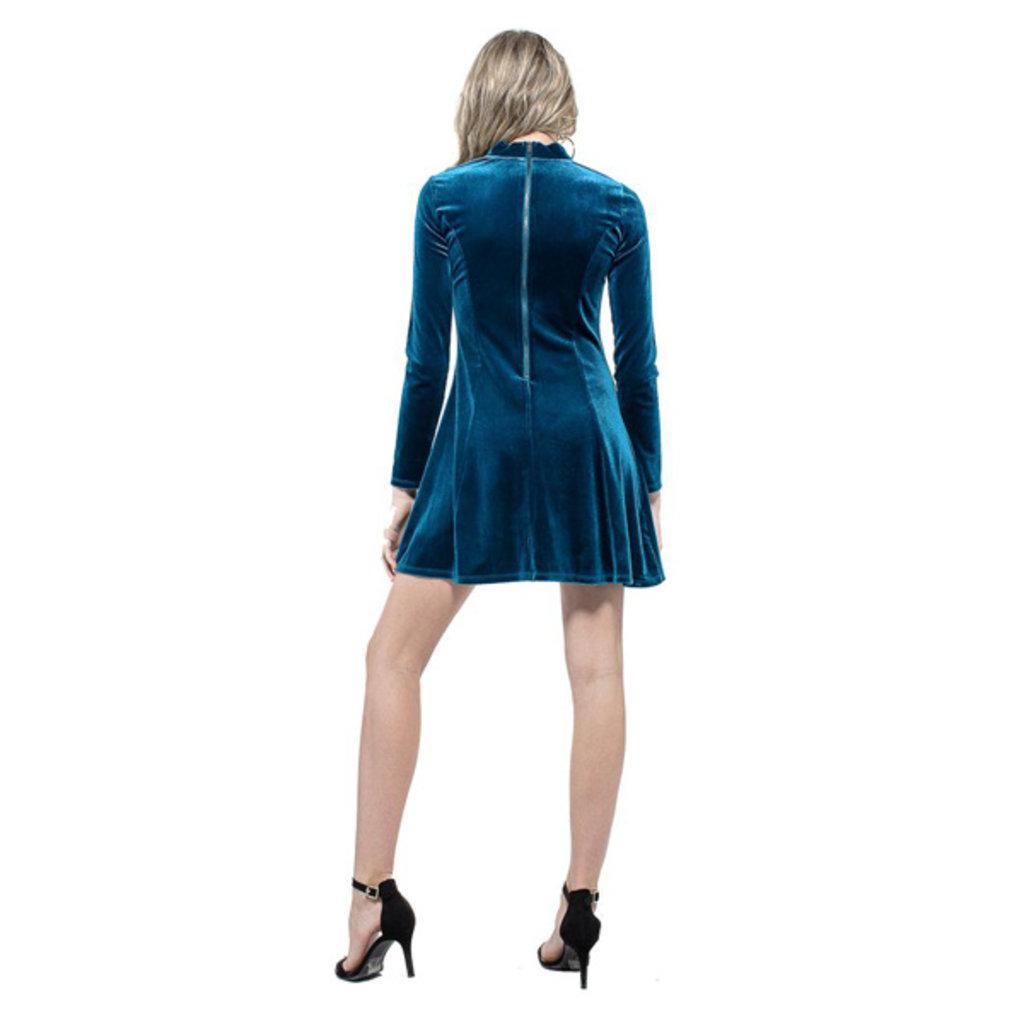 Miss Behave Paige Velvet Long Sleeve Skater Dress