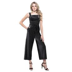 Miss Behave Jada Velvet Sparkle Stripe Jumpsuit - Size: L (12)