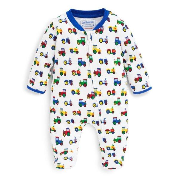 JoJo Maman Bebe JoJo Maman Tractor Zipper Baby Footie Sleepsuit