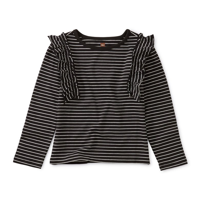 Tea Collection Tea Striped Ruffle Flutter Top