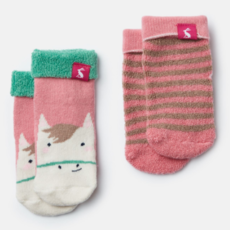 Joules Joules Baby Terry 2 Pack Socks - Size: 0-6 Months