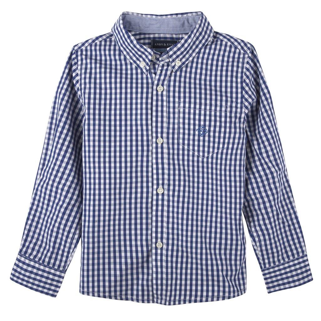 Andy & Evan Boys Blue Gingham Button Down Shirt