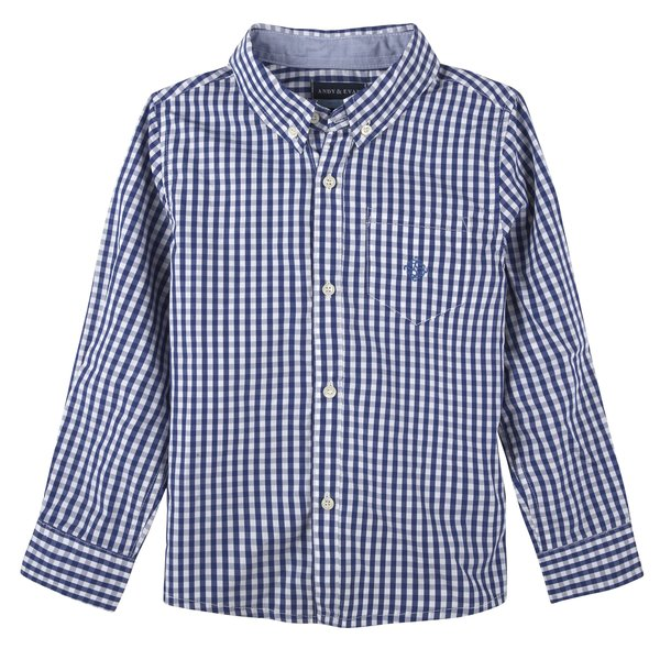 Andy & Evan Boys Blue Gingham Button Down Shirt