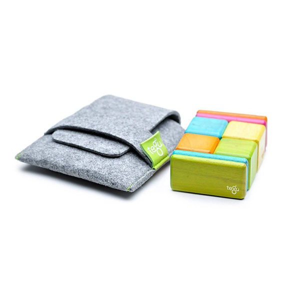 Tegu 8-piece Tints Colored Magnetic Wooden Blocks Pocket Pouch