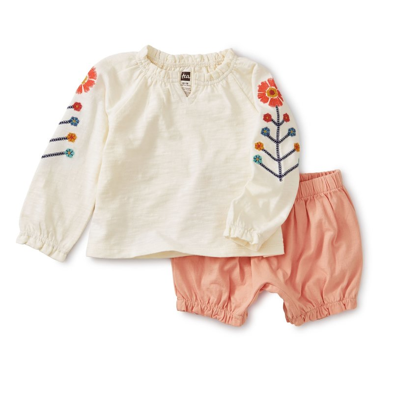 Tea Collection Tea Embroidered Baby Set