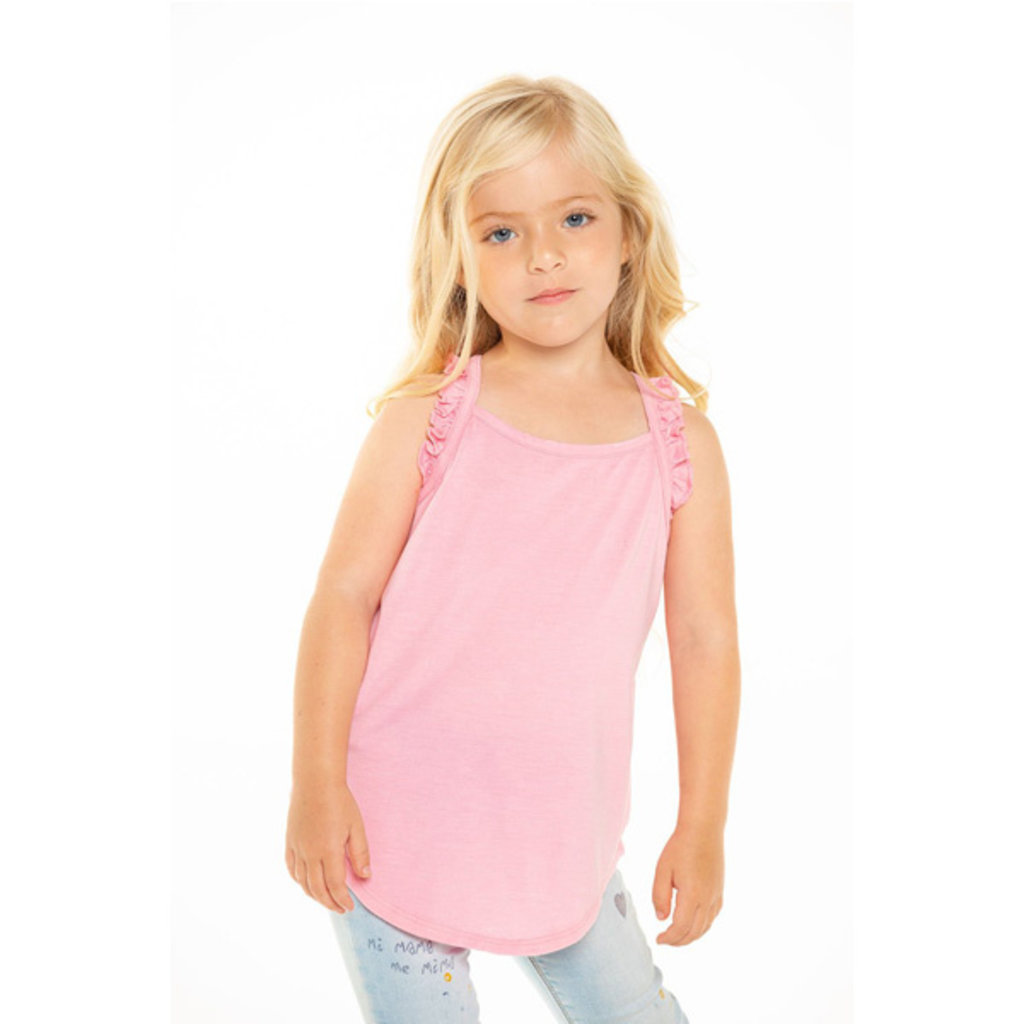 Chaser Kids Chaser Kids Girls Recycled Vintage Jersey Ruffle Racerback Tank