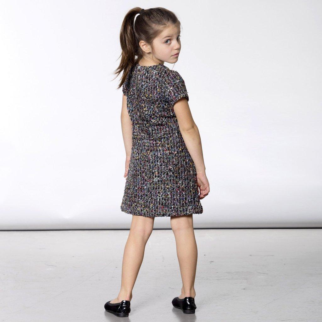 Deux par Deux Deux par Deux Girls Tweed Dress with Faux Fur Pockets