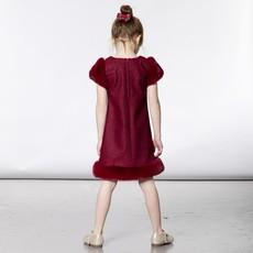 Deux par Deux Deux par Deux Herringbone Dress with Faux Fur
