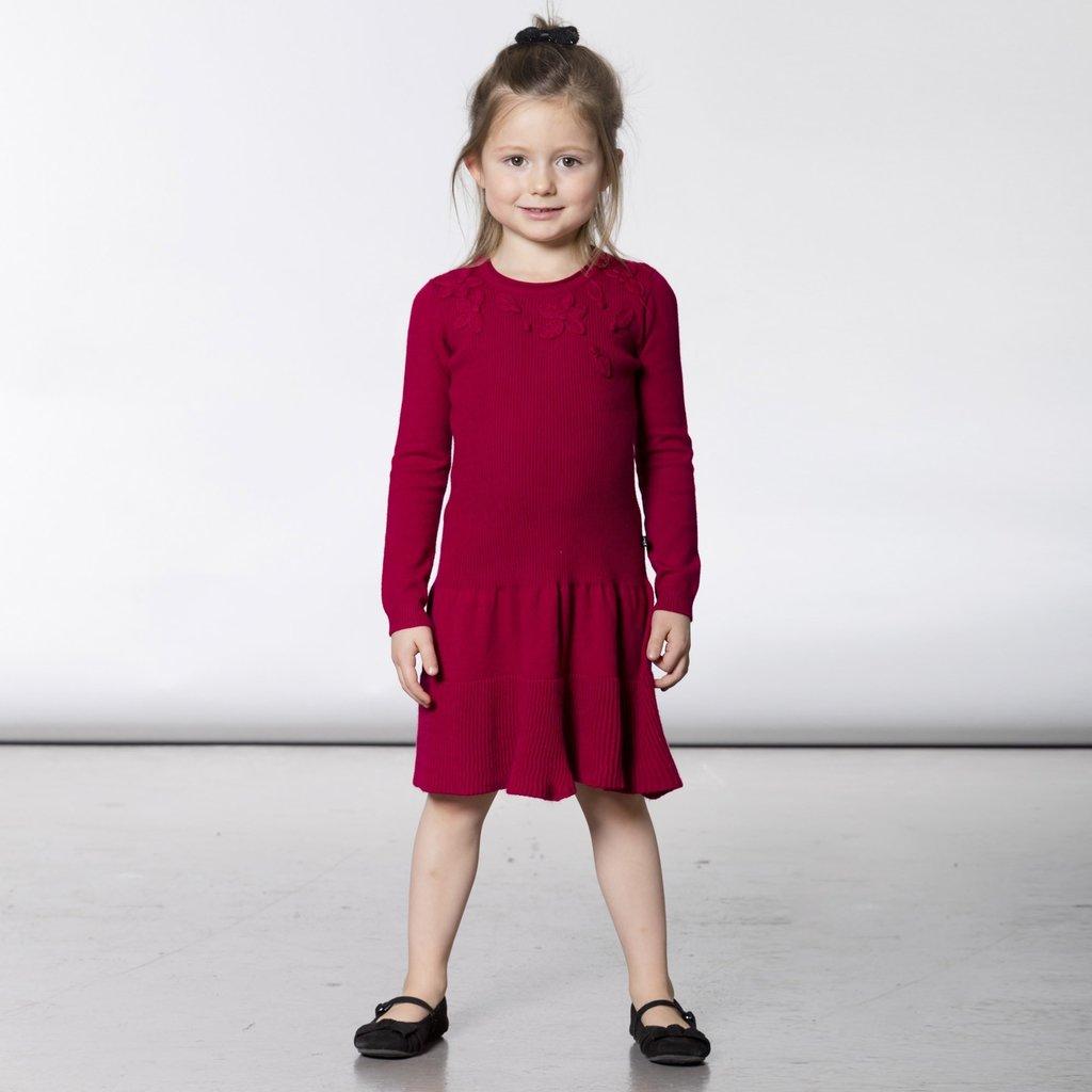 Deux par Deux Deux par Deux Girls Red Knitted Sweater Dress with Applique