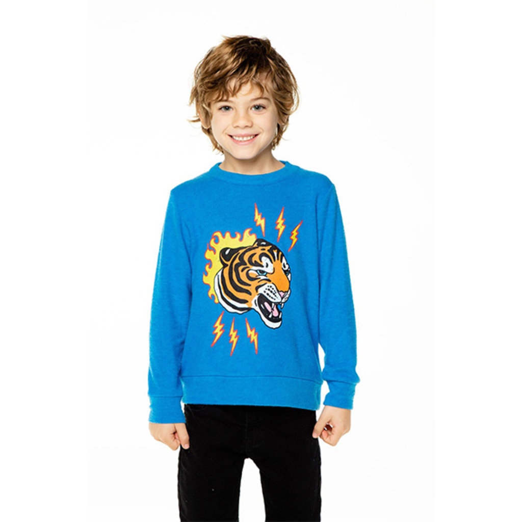 Chaser Kids Chaser Boys Knit Long Sleeve Wild Cat Crew Pullover