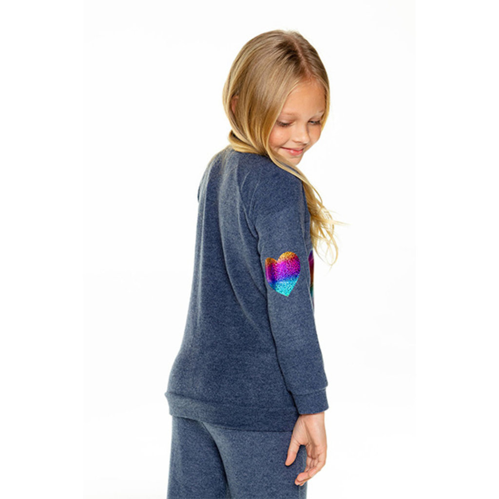 Chaser Kids Chaser Girls Knit Raglan Heart Pullover