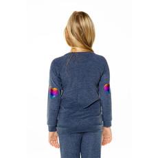 Chaser Kids Chaser Girls Knit Raglan Heart Pullover