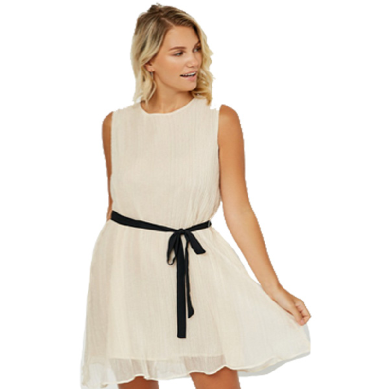 Hayden Belted Pleated Swing Dress