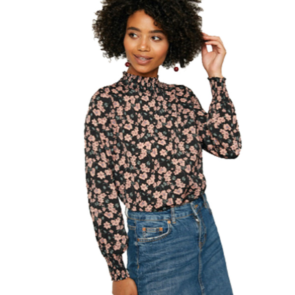 Hayden Womens Floral Smock Neck Blouse