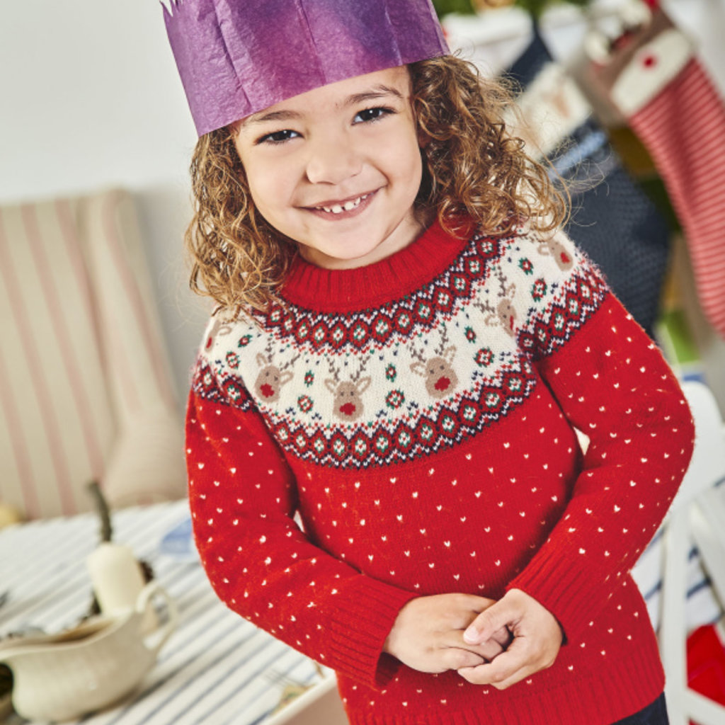 JoJo Maman Bebe JoJo Maman Bebe Reindeer Fair Isle Baby Sweater