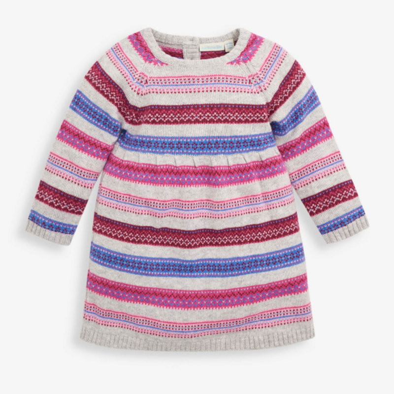 JoJo Maman Bebe JoJo Maman Stripe Fair Isle Dress