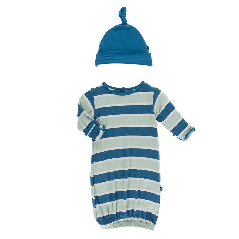 KicKee Pants KicKee Pants Layette Gown Knot Hat Set